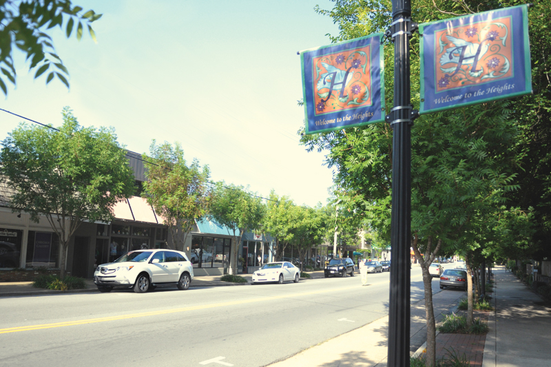 The Heights' strip of restaurants and shops