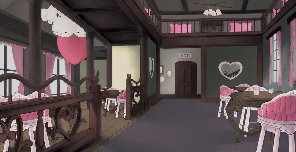 Sketch of BunnyTale Cafe Interior, Inspired by BunnyTale Cafe Bubblegum Rose Stool and Decomissioning Table