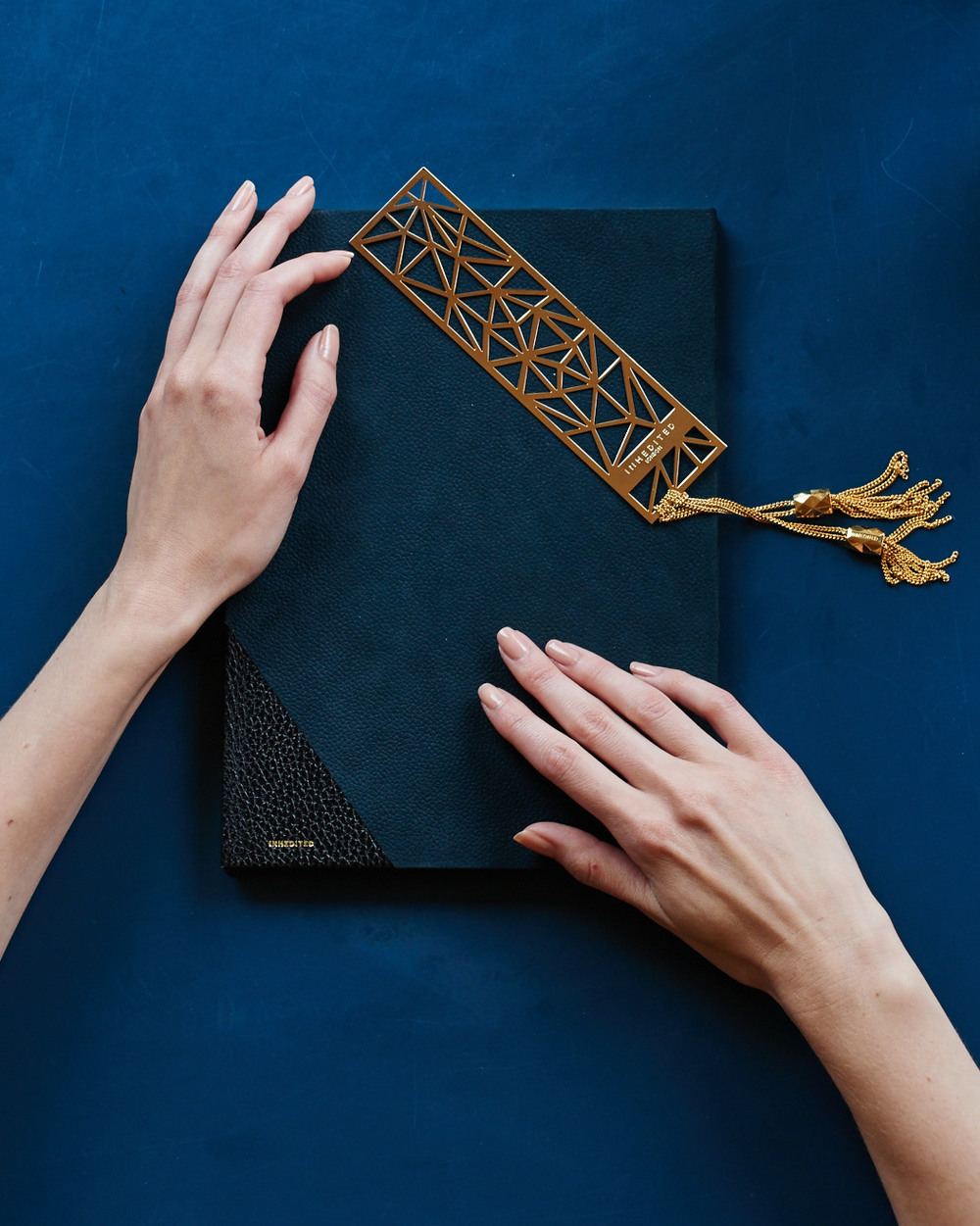 LEATHER BOUND JOURNAL AND GOLDEN BOOKMARK