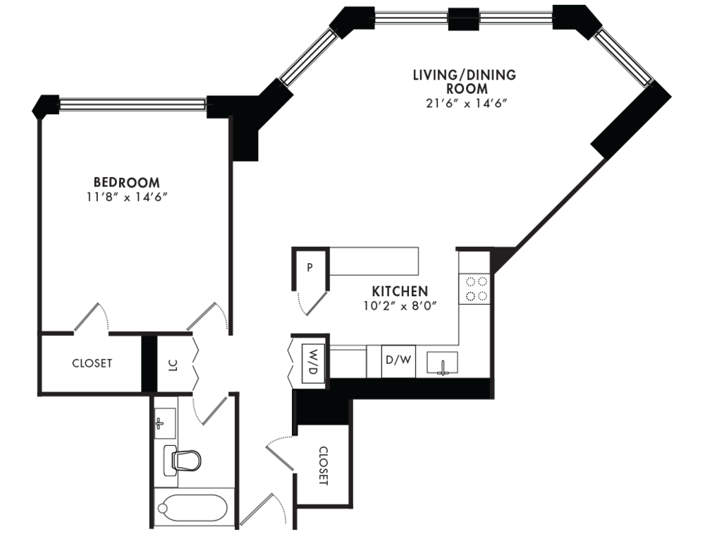 1 Bedroom 824SQF