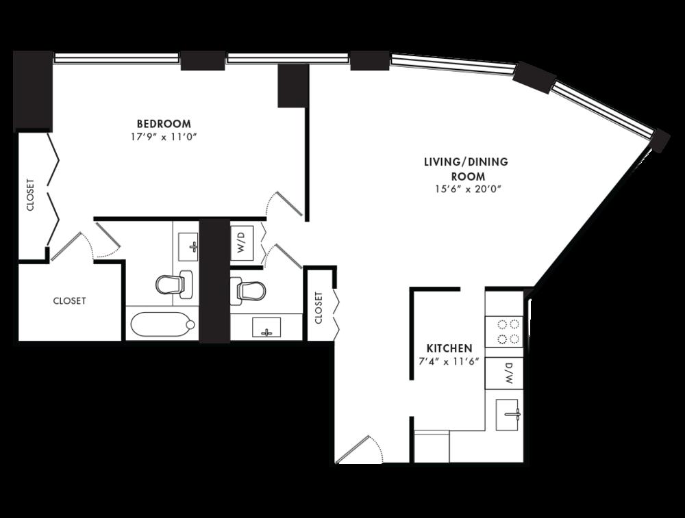 1 Bedroom 858 SQF