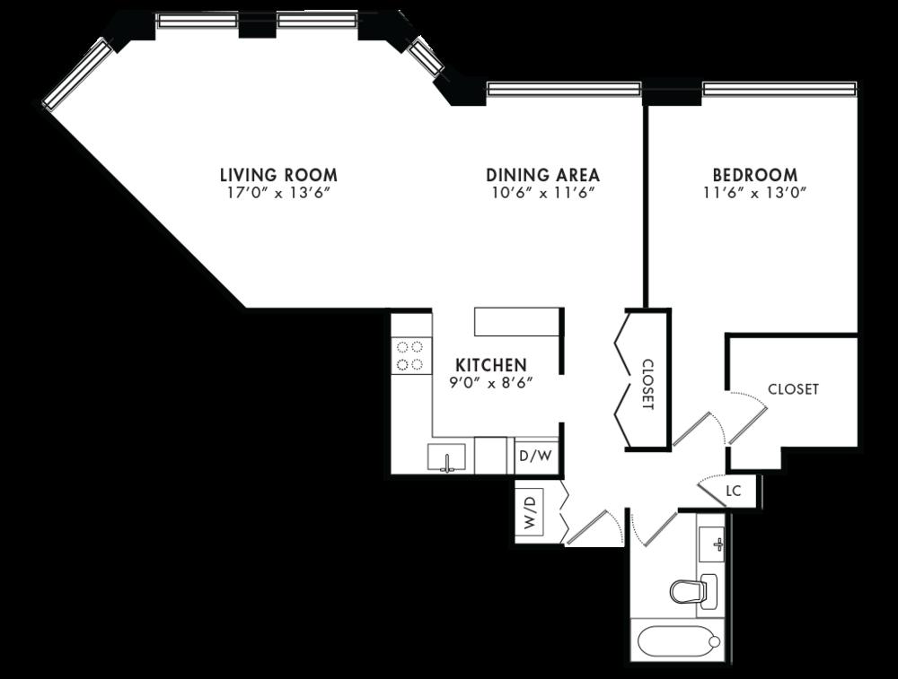 1 Bedroom 861SQF