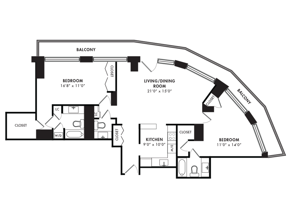 Two Bedroom 1200 SQFT