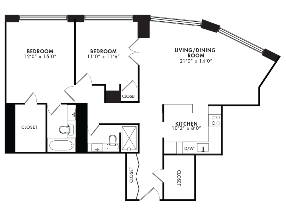 Two Bedroom 1075 SQFT