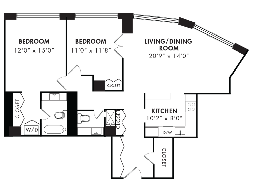 Two Bedroom 1158 SQFT