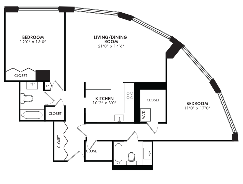 Two Bedroom 1160 SQFT