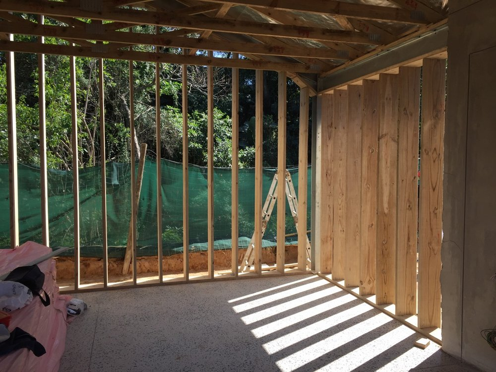 Garage portal timber infill
