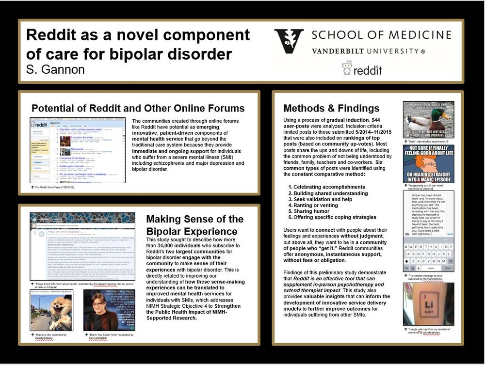 Research Conference Poster:  Reddit as a novel component of care for bipolar disorder. Presented at the New Investigator Workshop at the National Institutes of Mental Health - Health Services Research, Bethesda, Maryland.