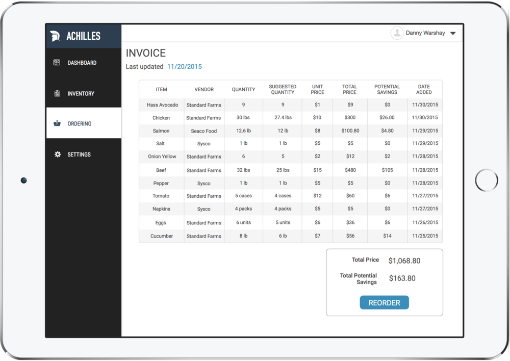 All orders live in a single invoice that automatically updates as users updates orders in their inventory.An order across multiple vendors can be placed with the touch of one button.