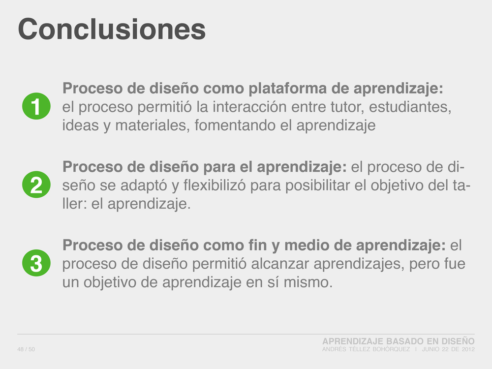 Design Based Learning: Conclusions