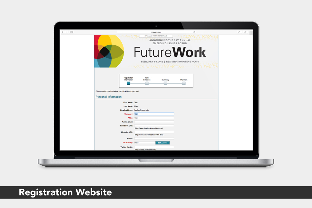 FutureWork: Registration Website