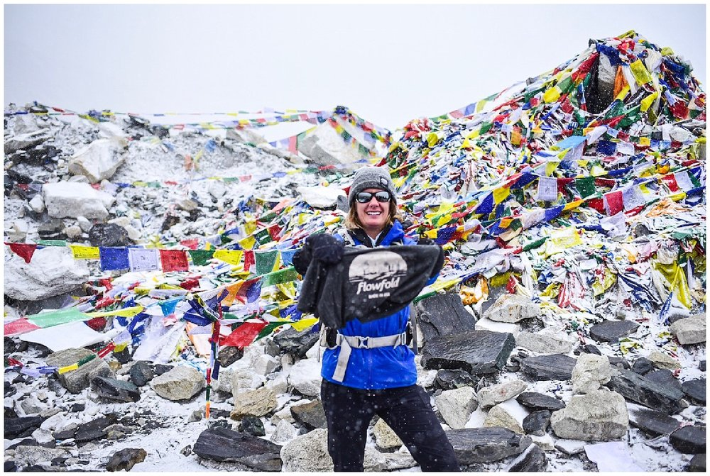One of the items I brought to Everest Basecamp was my Flowfold shirt, to show them that a company from Maine can make a huge difference.