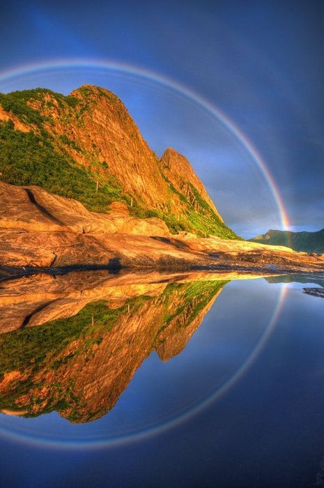 Reflected Rainbow | Senja, Troms, Norway | by Seffis via deviantART