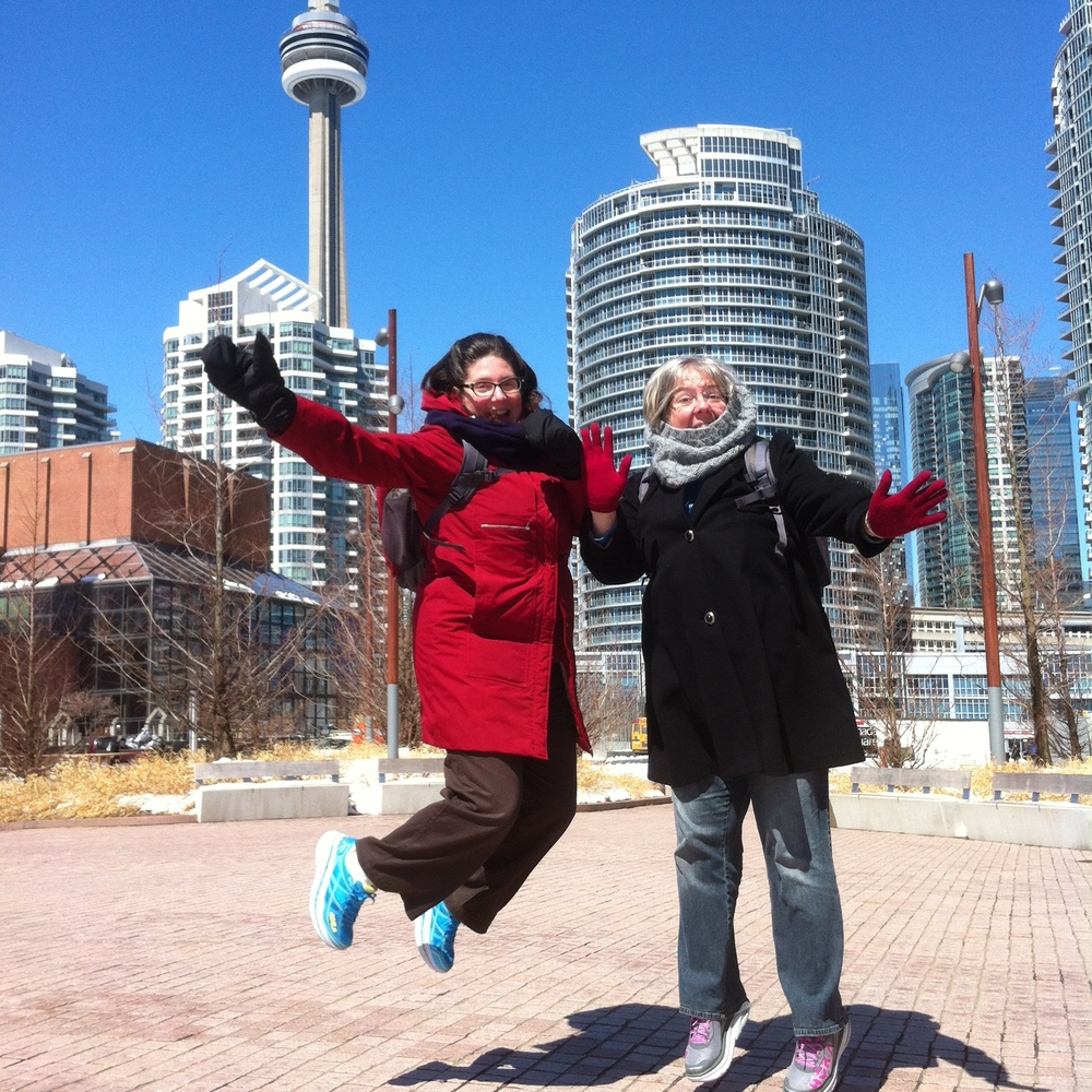 Caron and I at Queen's Quay in front of the CN Tower.