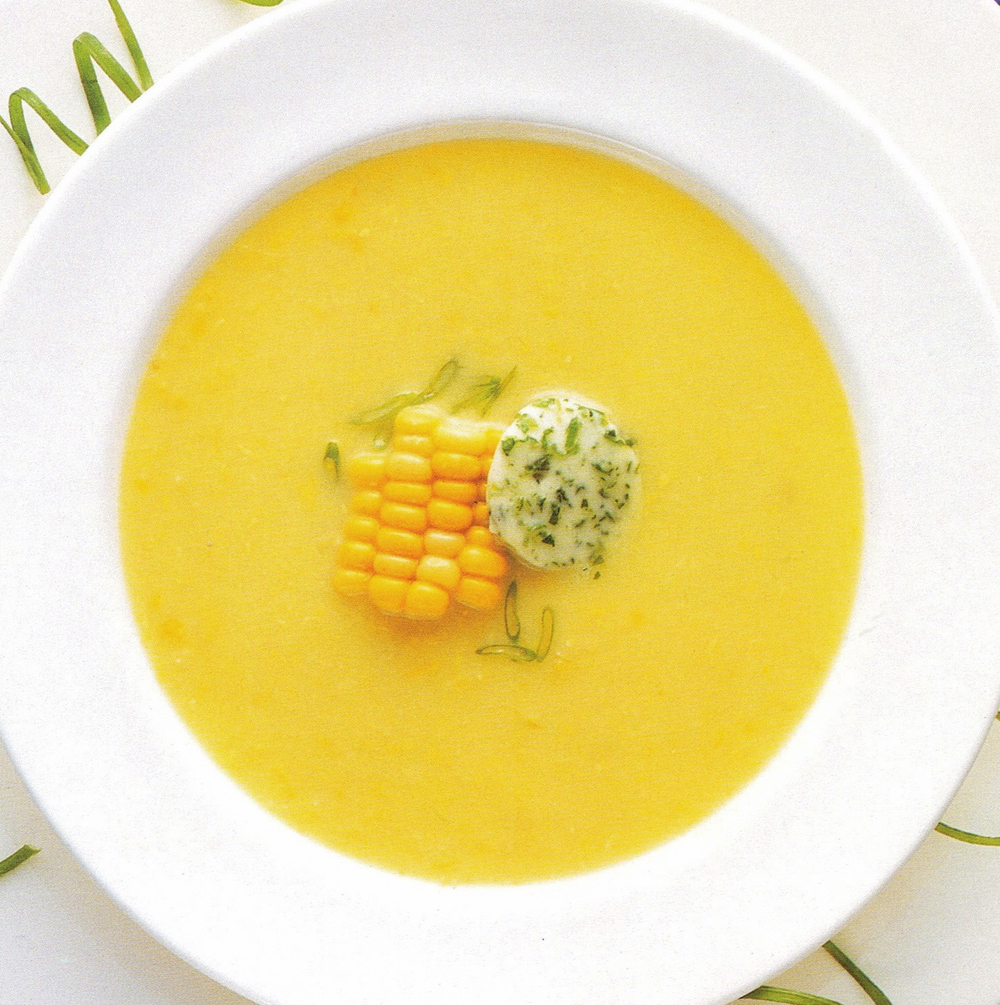 Sweet Corn Soup with Scallion Butter