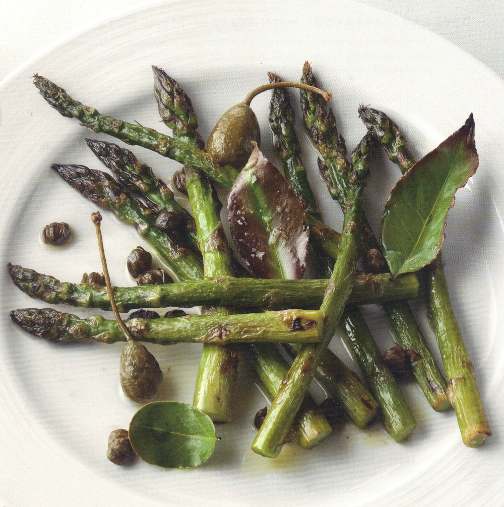 Poached Asparagus with Lemon-Mint Panko