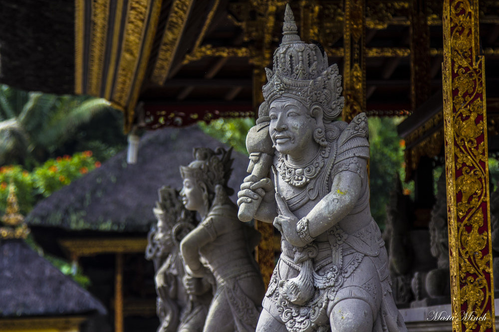 A stone carving statue that stood guard at one of the temples Pura Tirtha Empul
