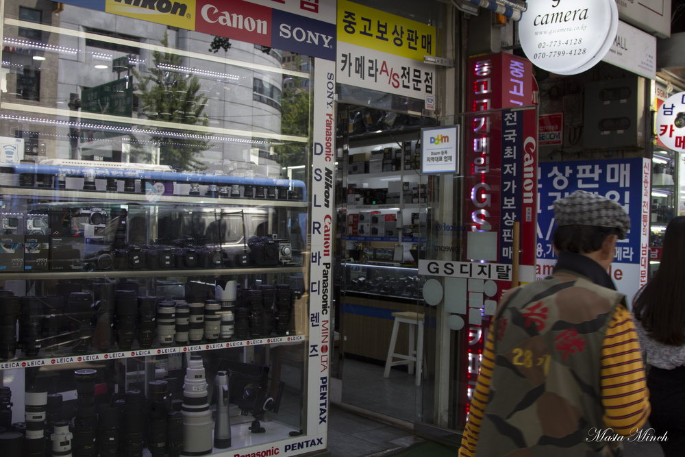 There are several store fronts like this that line Namdaemun. All filled with anything related to cameras.
