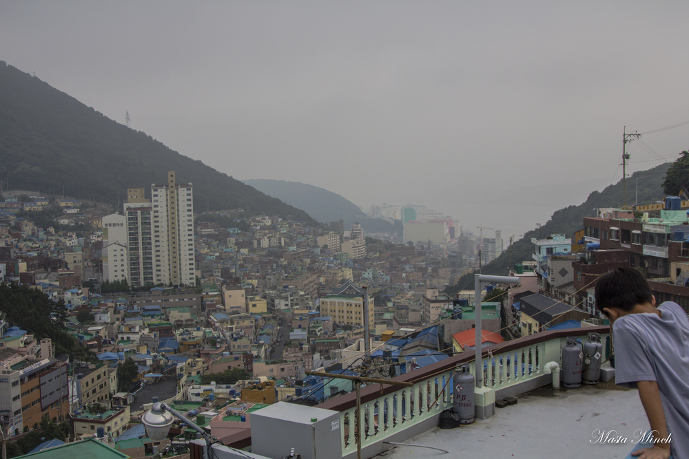 A topside view of Gamcheon village. Included for your viewing pleasure are the clouds and fog that followed me around Korea.