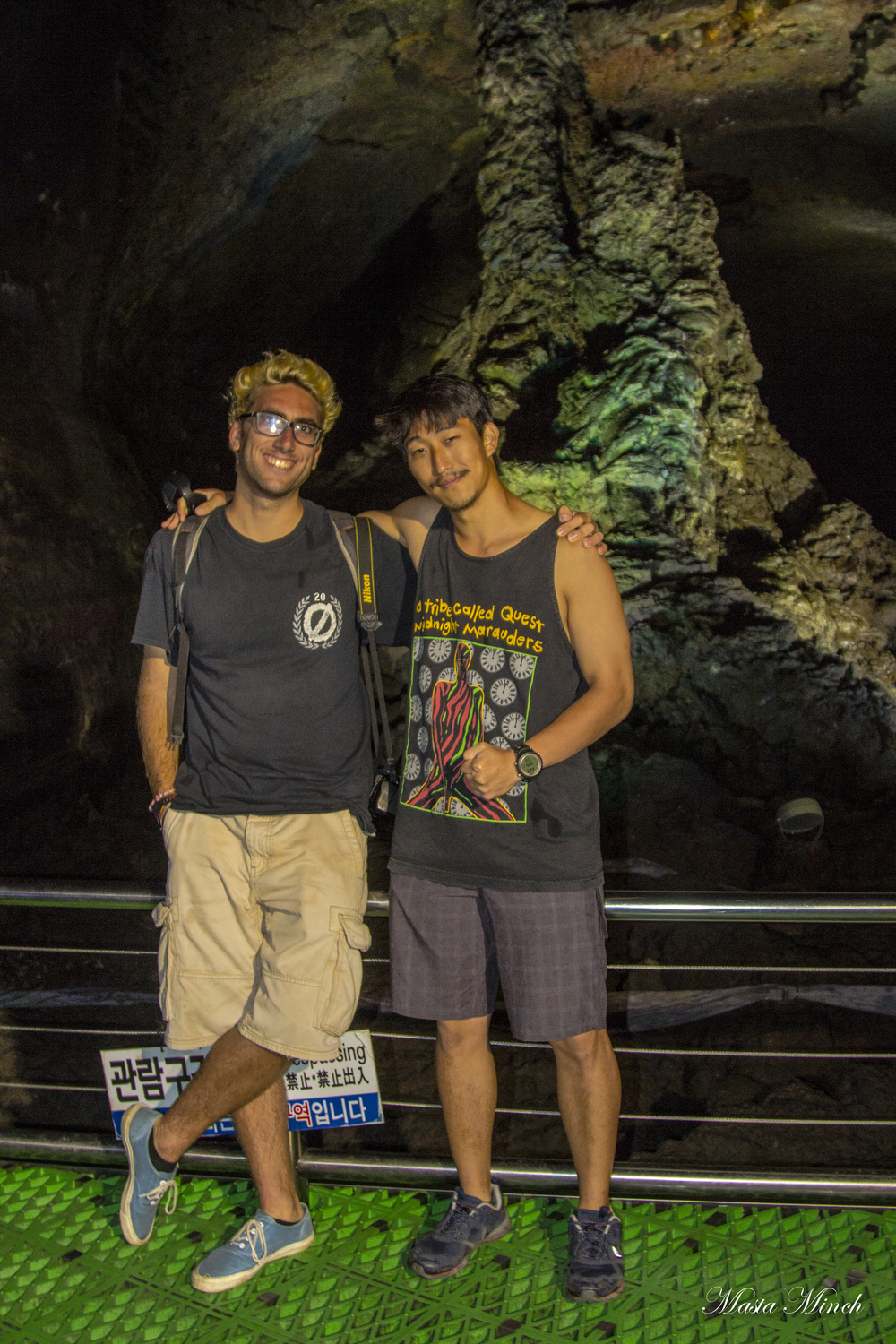 My boy Jonathan and I standing in front of the tallest discovered lava column.