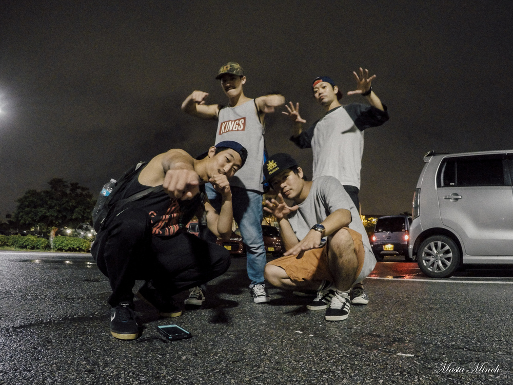 With the three bboys who shared with me their amazing Okinawan culture. Bboys Surf, Ruki, and Tell.