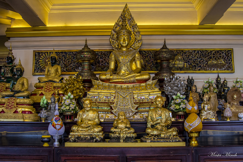 The Buddha at the top in Wat Saket.
