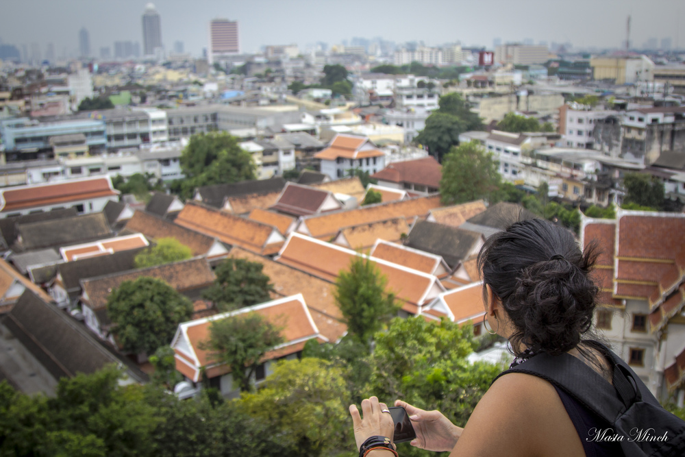 The view of Bangkok from the top of Wat Saket