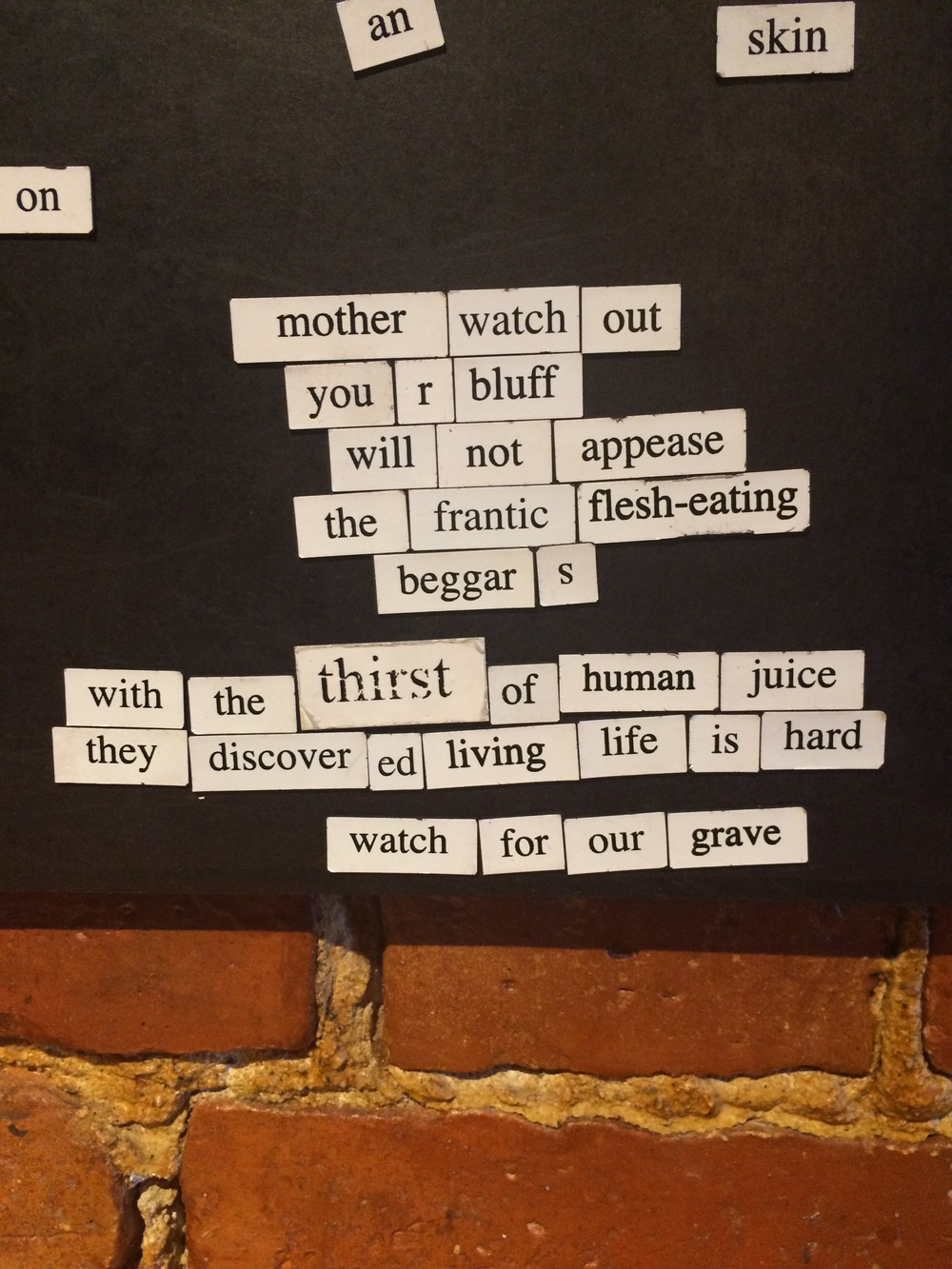 Magnet Poetry at Duckfat