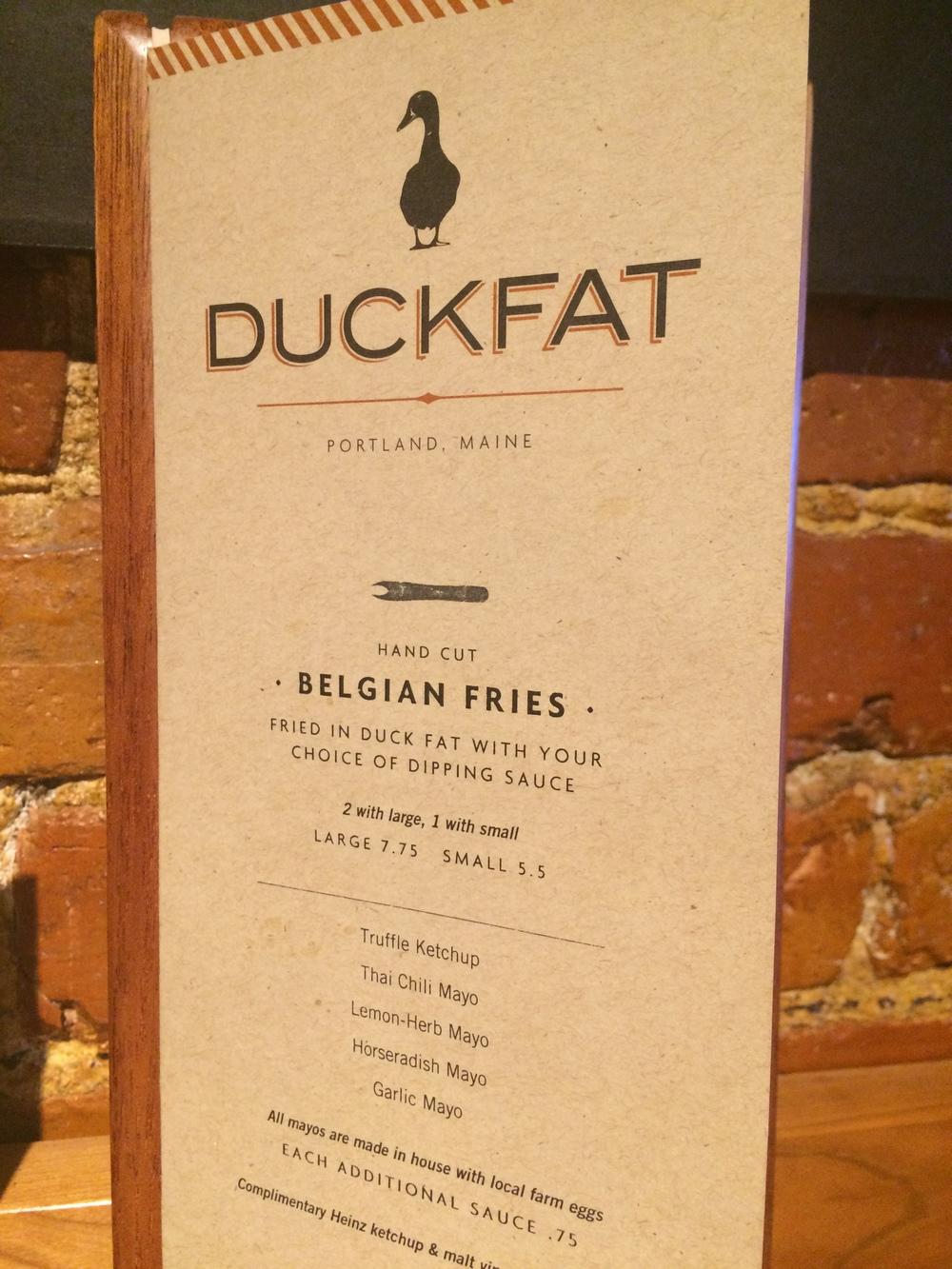 Menu at Duckfat