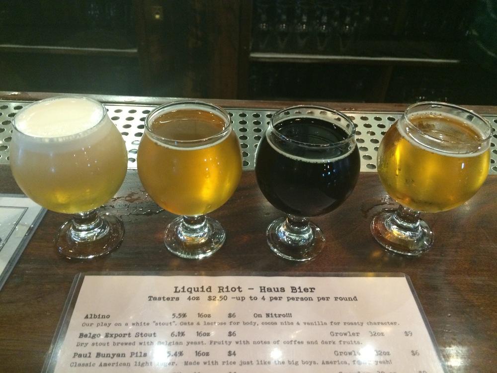 Beer Flight at Liquid Riot Brewing