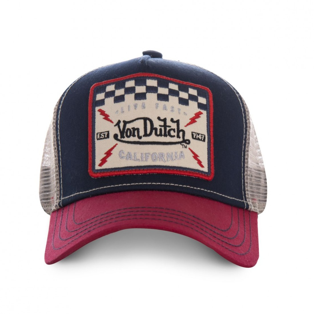 ab6a71d8eb353 Von Dutch Trucker Checkered Flag  casquette-homme-von-dutch-square-bleu-et-rouge (