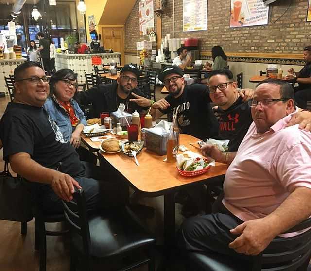 Showing @djgrouch and @louwop and family of @wearelospoetas some dope tacos in the Chi! Here's to an awesome weekend with extended music familia!