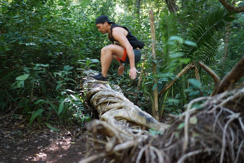 Natural and man-made obstacles abound on Rayos' jungle run!