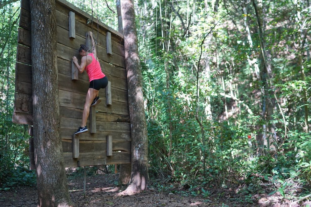 Climbing Wall on the obstacle run!