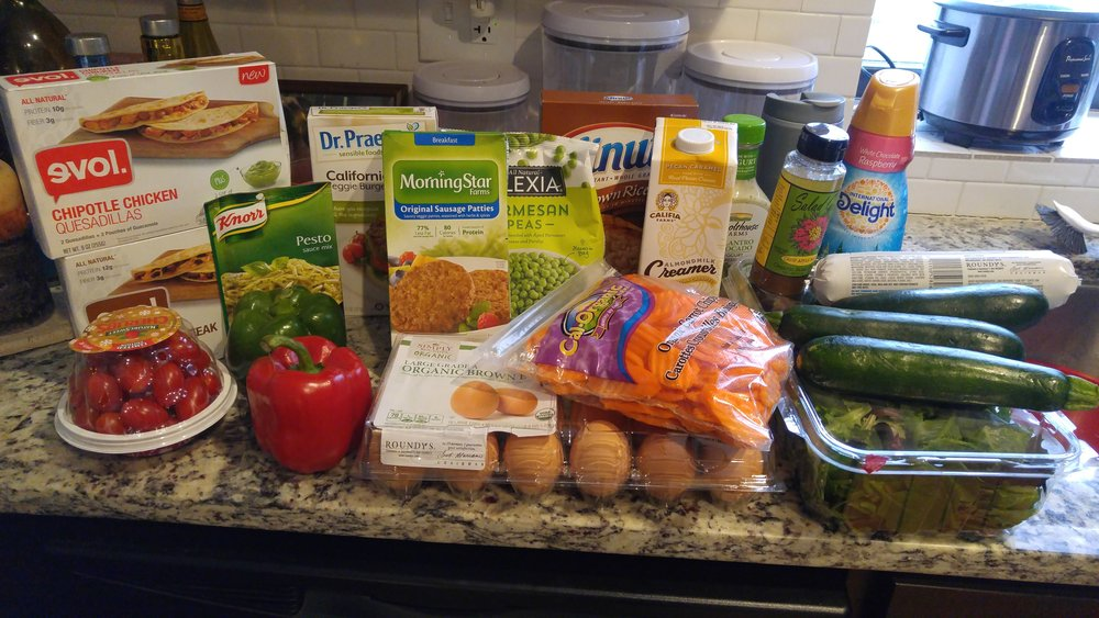 Grocery haul - all of this fit in my backpack!  I'm a pro!