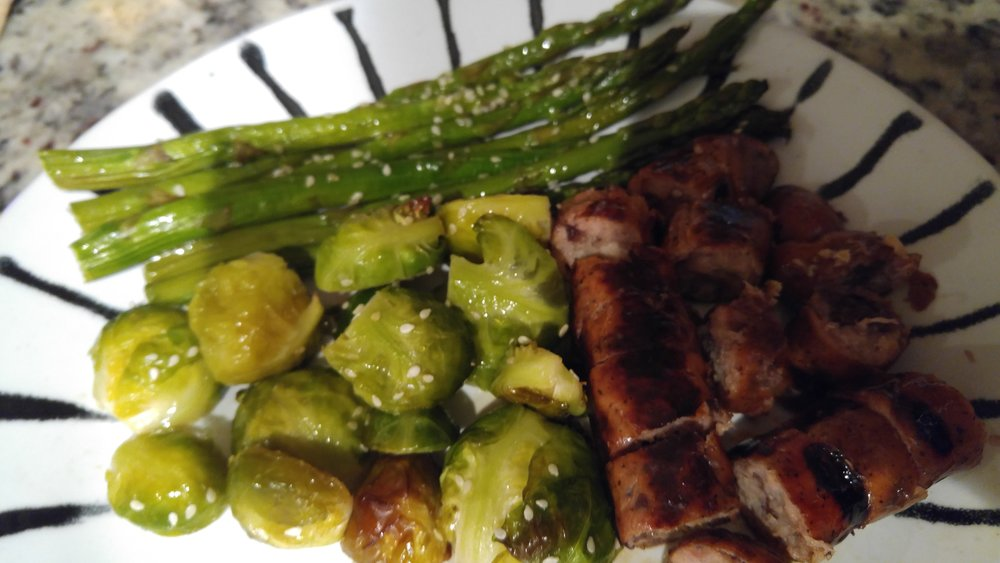 Roasted veggies and chicken sausage. YUM!