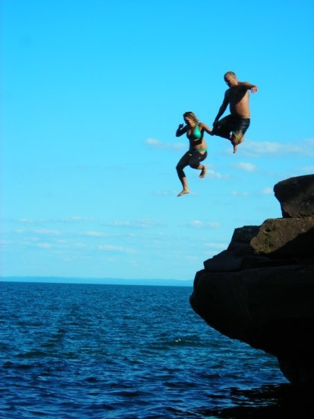 Cliff jumping with Steph at Big Bay State Park on Madeline Island!