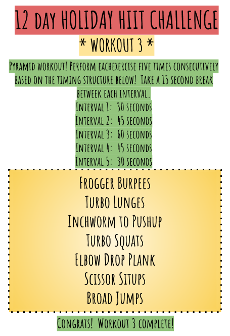 Example: Perform Frogger Burpees 30 seconds, rest 15, perform 45 seconds, rest 15, perform 60, rest 15, and so on.