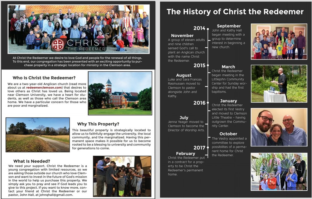 Digital Brochure - This brochure gives the history of Christ the Redeemer and information about who we are, the property we are seeking to purchase, and what is needed to purchase the property. Please share with those who may be interested in getting involved. Download here(download through Dropbox, you won't need an account, just click download in the top right corner).