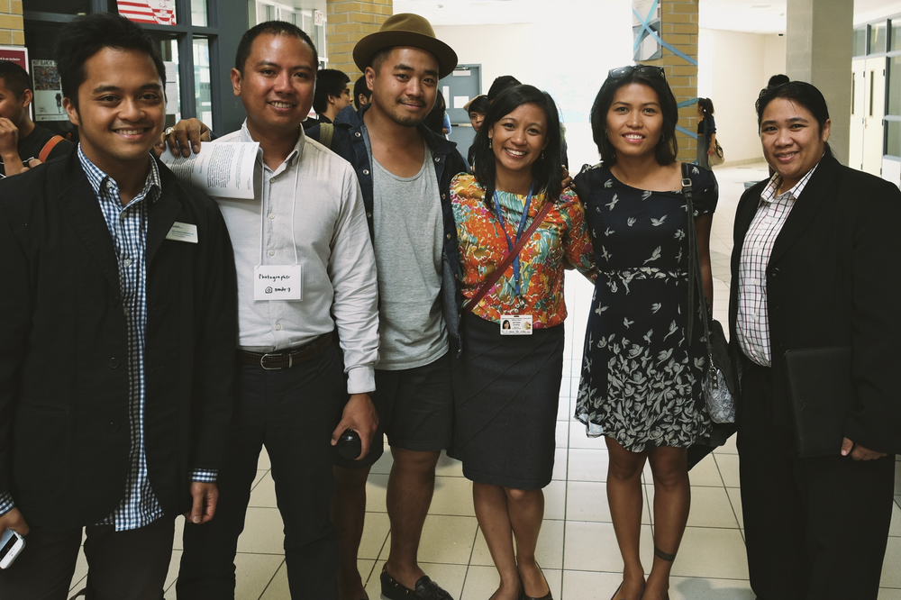 Settlement Workers Ben Bongolan (left) and Jennilee Austria (centre) with members of the Role Models Panel: graphic designer Jose Carlos Bonifacio, entrepreneur and artist Jodinand Aguillon, nurse and artist Haniely Fernandes, and lawyer Vanessa Ibe.