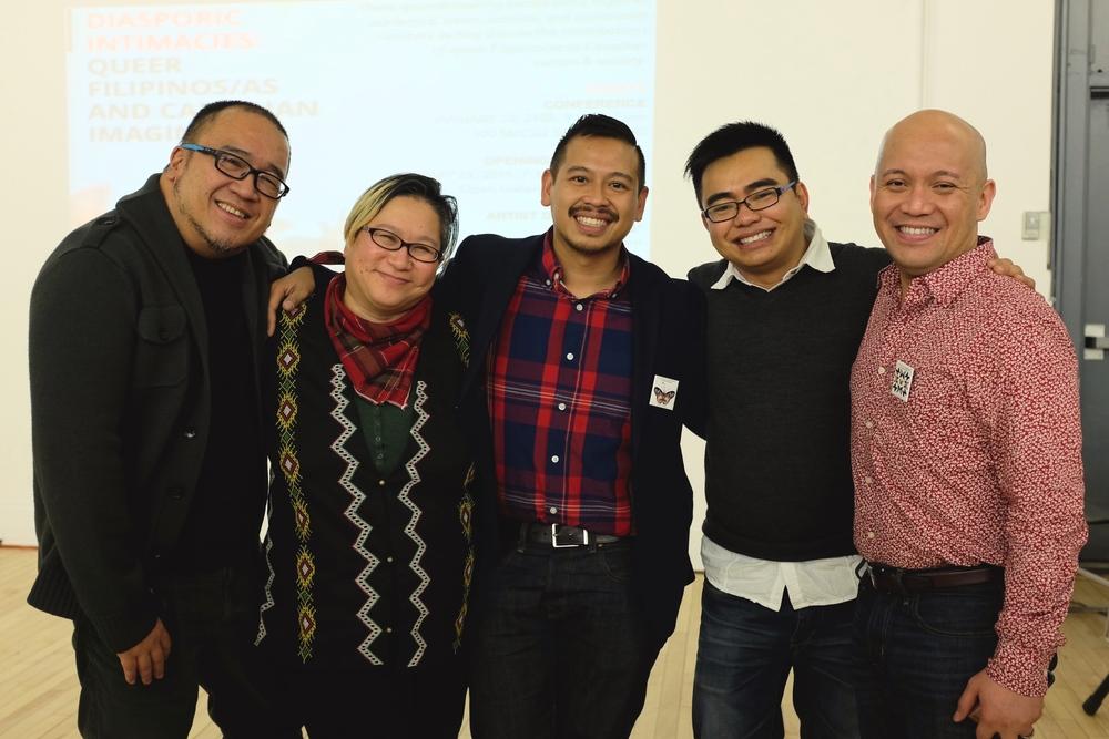 Interdisciplinary artist Jo SiMalaya Alcampo (second from left) with professors Martin Manalansan, Robert Diaz, Patrick Alcedo and Roland Coloma