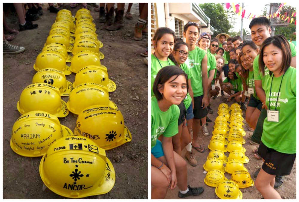 At the end of their service trip, students leave their hard hats behind for local workers. Photo by Catholic Student Leadership