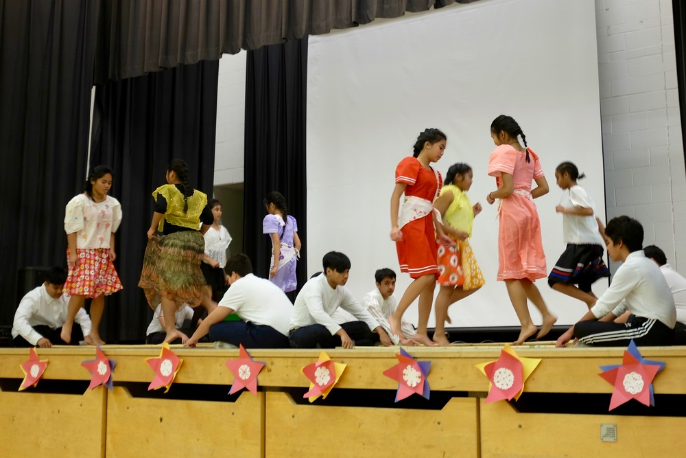 """St. Paschal Baylon students dance tinikling to Michael Jackson's """"They Don't Care About Us."""""""