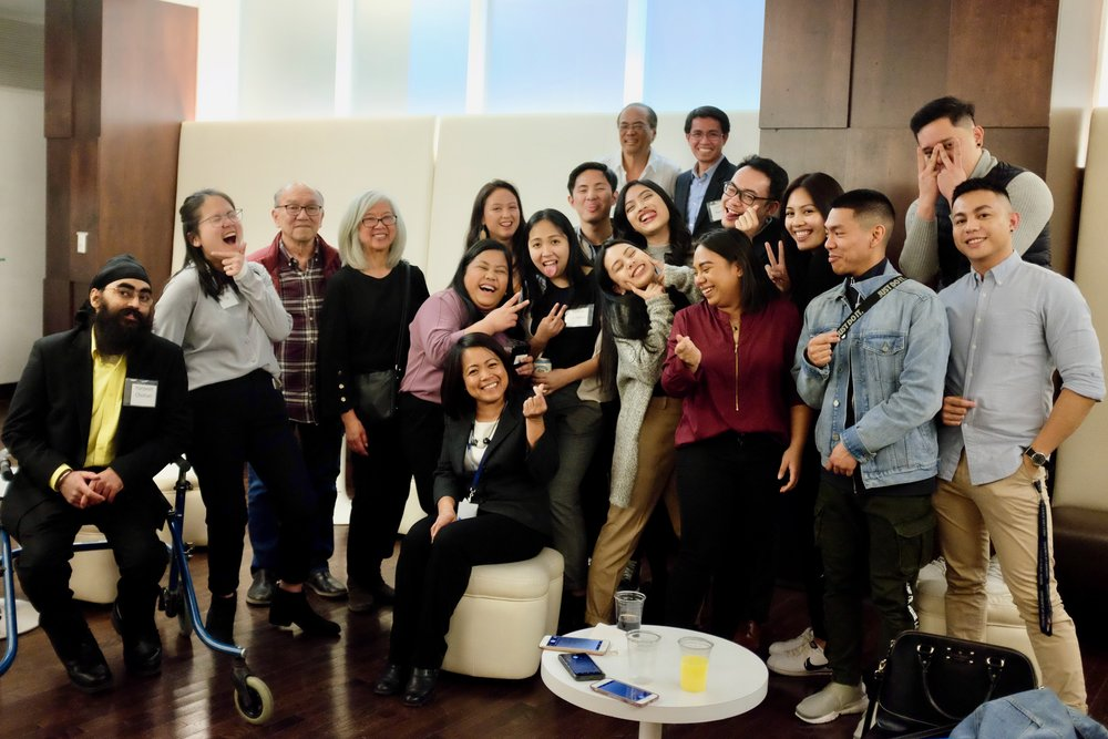 FSAT receiving mentorship from members from Mayrose Salvador (seated) and members of the University of the Philippines Alumni Association of Toronto. Photo by J. Austria.