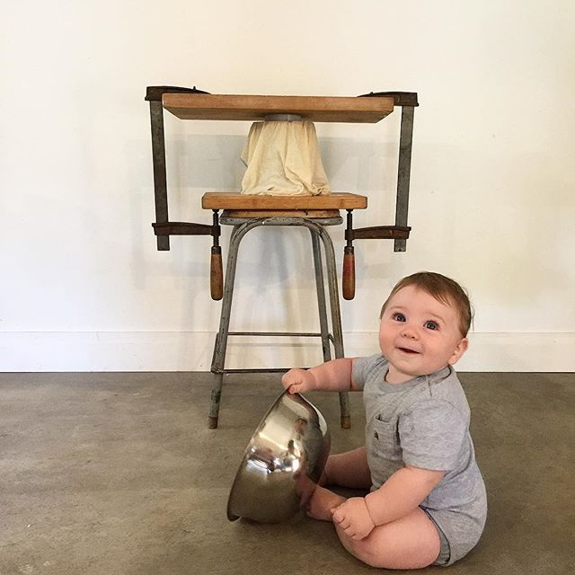 Our little cheesemaker catching the whey from our improvised cheddar-press at our @roebuckfarm workshop. #kiwiingenuity #cheesetour
