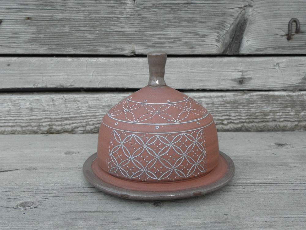 Bare Clay Butter Dish, Blue Inlay