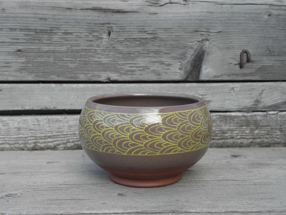Scale Banded Soup Bowl, brown and yellow