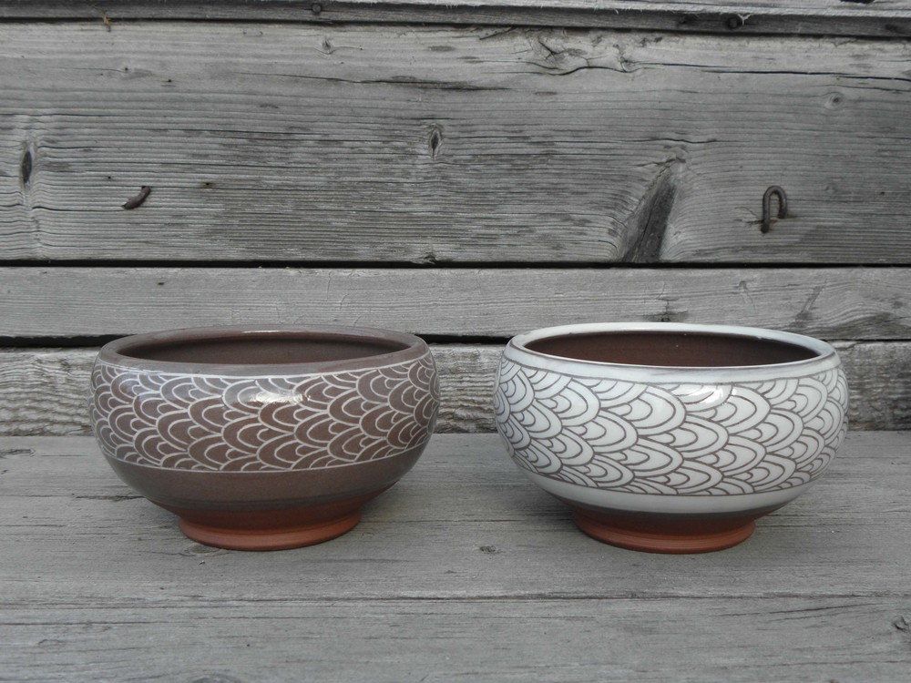Scale Banded Soup Bowls, Positive/Negative