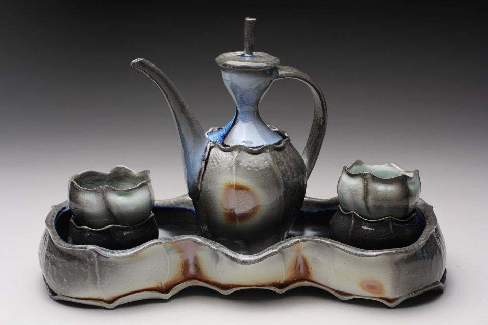 Flashed Ewer, Cups, and Tray