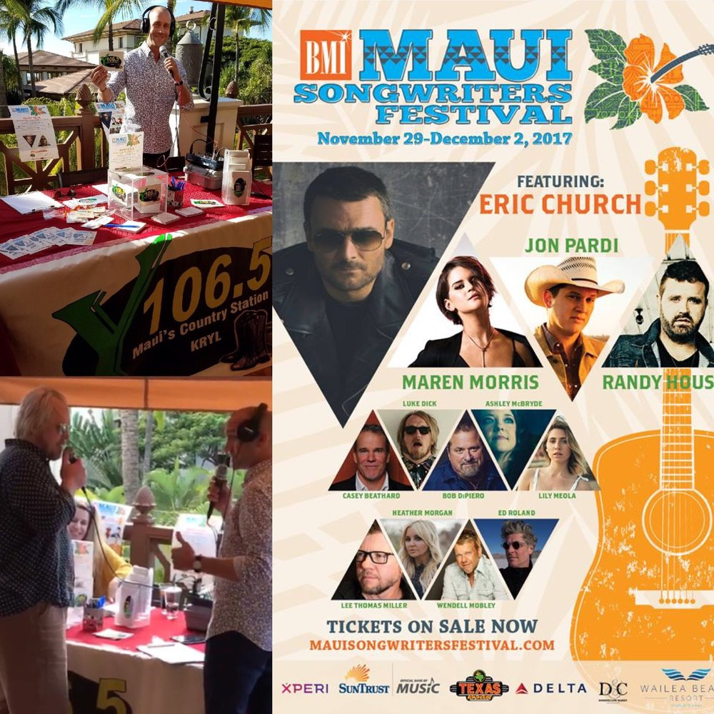 Emcee + On-Air Interviews at BMI Maui Songwriters Festival -